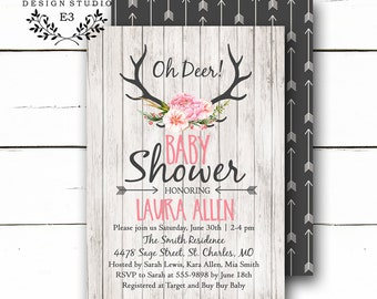 Rustic Antlers Baby Girl Shower Invitation - Arrows, Deer Antlers, Wood, Flowers Shower Invitations - Shabby Chic Woodland Baby Shower #1005