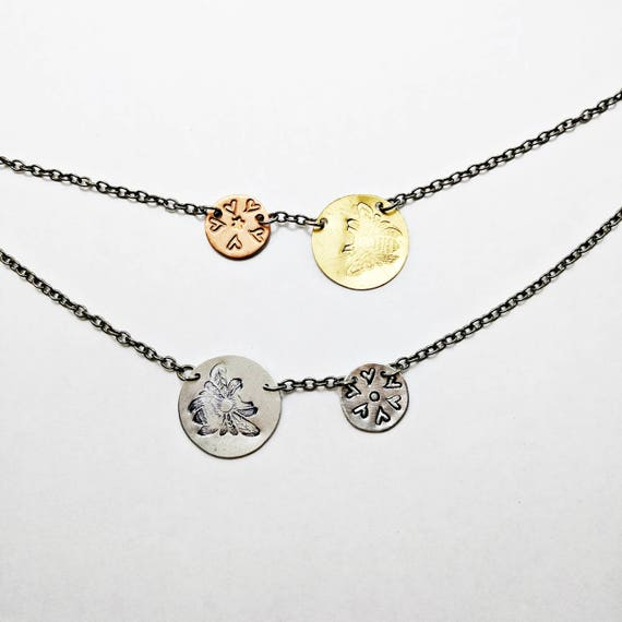 Bee and heart flower necklace spring easter present for like this item negle Images