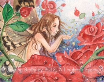 "ACEO A Love of Roses, 3.5x2.5""  limited Edition print whimsical flower fairy fantasy red rose illustration"