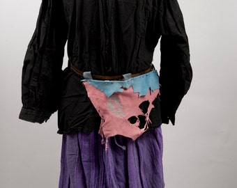 Blue and pink leather battleskirt mini banner with kraken embroidery larp fantasy fair armor costume black pirate octopus cthulhu squid worn