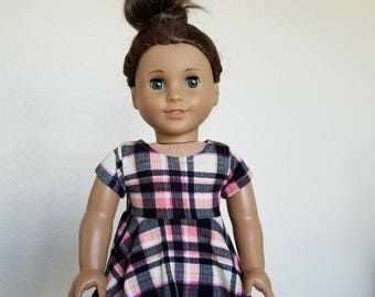 18 inch doll skater dress in Pink, Black and White Plaid by The Glam Doll - fits for American Girl