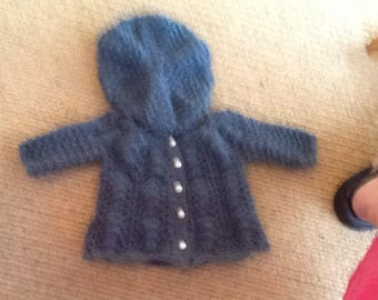 Handknitted petrol blue matinee jacket with beret