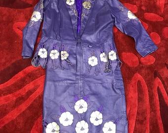 Leather suit vintage purple / retro fashion