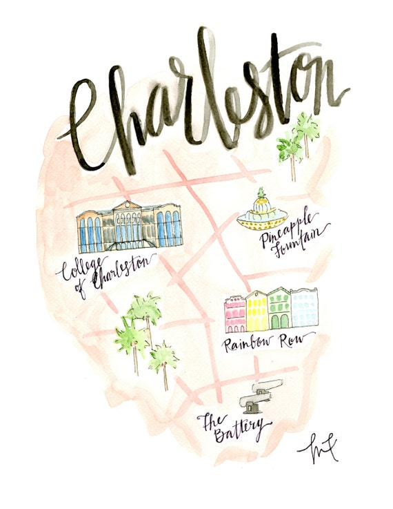 Items similar to charleston map watercolor charleston for T shirt printing charleston sc
