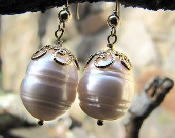 Ringed Pearl Earrings, Large Baroque Pearl Earrings, Handmade Handmade