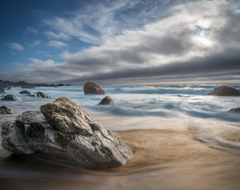 Garrapata Beach Exposed - big sur,california,sand,rocky,blues,earth tones,office decor,home decor,cloud bank,wide,waves,coast,waves,movement