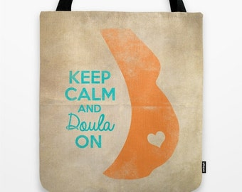 Keep Calm and Doula On Graphic Print Tote Bag Pregnancy Pregnant Preggo Midwife Midwifery Maternity Natural Birth Heart