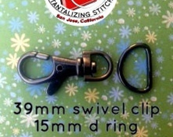 5 Sets 1.5 Inch Swivel Clips with Matching D Ring (available in Antique Brass, Gun Metal, and Nickel Finish)