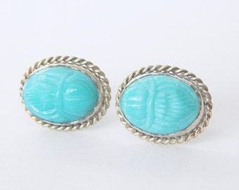 Beautiful Light Blue Scarab Earrings Sterling Silver Setting - Vintage