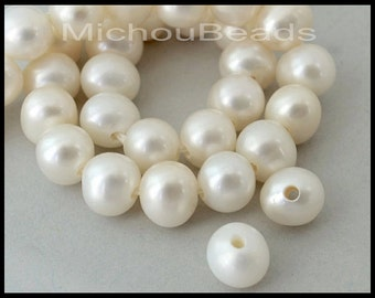 "16"" Strand 8.5mm ROUND White LARGE Hole PEARLS - 1.5mm Hole Genuine A Grade Creamy White Pearls - Instant Ship - Wholesale Pearls - 5941"
