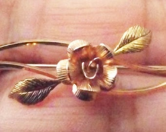 1950's Designer Krementz Gold Filled Peony & Leaves Delicate Brooch/Pin-Mid Century Estate Piece