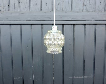 Vintage French mid century molded glass ceiling or pendant light
