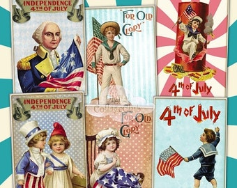 80% Off Spring Sale Vintage Retro 4th of July Independence Day Digital Collage Sheet Images for Jewelry Holder Cardmaking Scrapbooking Journ