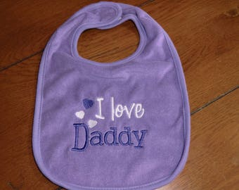 Embroidered Baby Bib - I Love Daddy - Neutral - Purple
