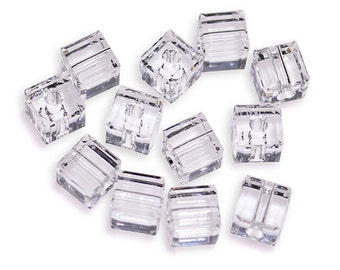 Swarovski Crystal 4mm Cube Crystal Beads 5601 (Package Of 12 Beads)