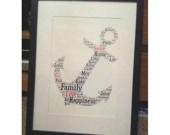 Personalised word art framed print