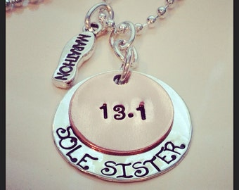 Hand Stamped Personalized Sole Sister marathon necklace-Runners necklace-Sole Sister Half Marathon-Full Marathon necklace 26.2 13.1 jewelry