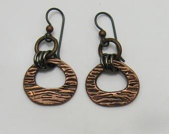 Antique Copper Earrings, Mixed Metal Earrings, Copper and Black Earrings, Black and Copper Earrings, Rustic Copper Earrings, Niobium Earring