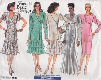 Free Us Ship Sewing Pattern Vogue 1940 Vintage Retro 1980's 80s 1987 Basic Design Evening Length Dress Size 8 10 12 Bust 31 32 34 Uncut