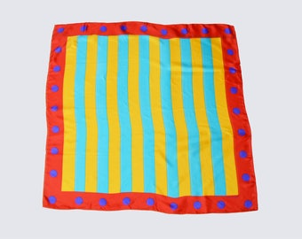 Vintage 80s ECHO Silk Square Scarf Striped Color Block Polka Dot Print Yellow Blue Red