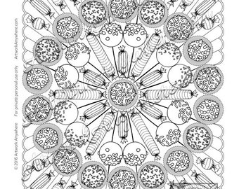 Rocket Burst Hard Candy Truffle Mandala ~ Adult coloring page digi stamp ~hand drawn striped candy~  Candy Kaleidoscope by Artwork Anywhere