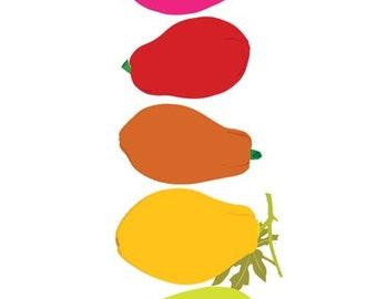 Fruit Print, kitchen decor, Papaya print, retro kitchen art, kitchen wall decorations, Dining Room Decor, Dining Room Art, Kitchen Posters