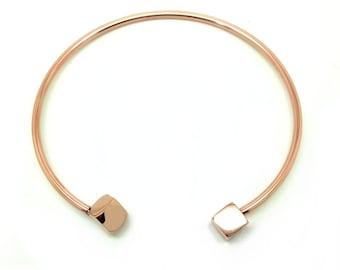 "Bangle bracelet ""square"" pink gold plated"