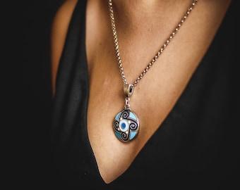 Native ethnic necklace Native ethnic women jewelry Women aqua necklace Charm necklace Aqua blue Necklace Ethnic necklace Chain necklace