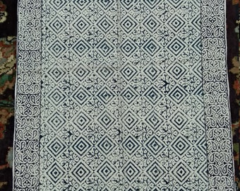 Hand Block Print Cotton Rug