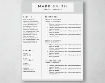 Resume Template Word - Modern Resume Template - Resume Cover Letter - MS Word *INSTANT DOWNLOAD*