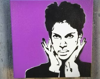 Prince Mixed Media Graffiti Art Painting on Canvas Original Art on Home Decor Pop Art Gallery Purple Rain