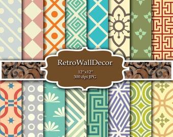 Retro Digital Paper Geometric Shapes Retro background geometric patterns Paper Pack 12x12 Buy 2 Get 1 FREE