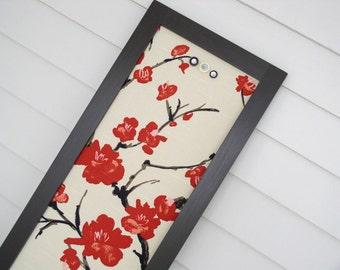 Long Narrow Magnet Board - Kitchen Bulletin Board Magnetic Organizer with Asian Cherry Blossom Designer Fabric and Handmade Frame