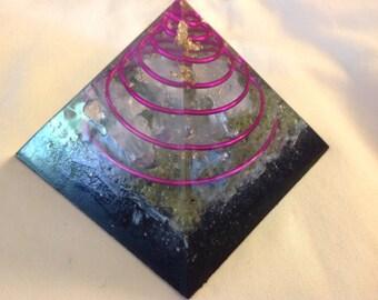 Orgone ASG med pyramid w/ Rhodizite, Shungite, Rose Quartz, Peridot, Tesla copper spiral, 3 1/4 in by 3 1/4 in tall