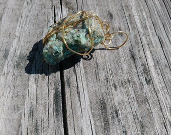 Raw Chyrsocolla Stone wrapped with Gold wire