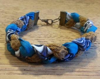 Braided Fabric Bracelet - Tan/Turquoise/Purple Waves - 3/4 inch width