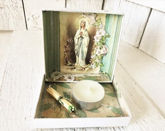 Pocket shrine prayer box Mary icon green religious medal upcycled embellished/ free shipping US