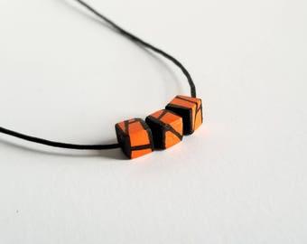 Orange Minimal Geometric Wood Bead Necklace