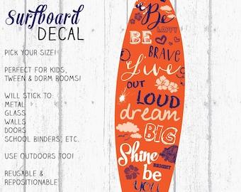 Surfboard Decal, Surfboard Decor, Wall Surfboard, Vinyl Surfboard, Sunkist & Navy Surfboard Art by Jennifer McCully