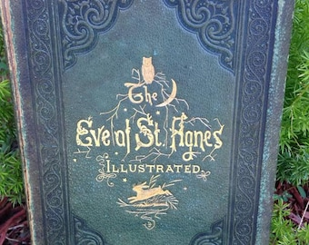 Antique Leather Book, The Eve Of ST. Agnes 1857 By John Keats