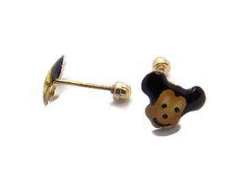 14k Yellow Gold Mickey Mouse Earrings!!