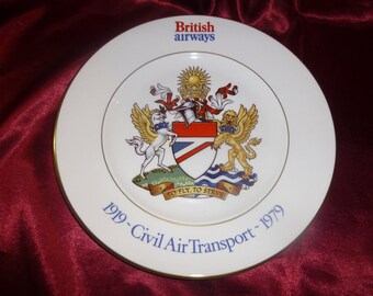 British Airways 1919-1979 Civil Air Transport Bone China PLATE 60th Year Ltd 3000