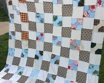 Vintage Hand and Machine Pieced Bow Tie Pattern Quilt Top