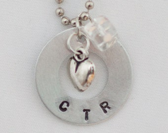 CTR Hand Stamped washer necklace - LDS