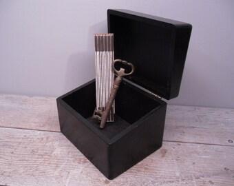 black wood file box / index card box / industrial storage