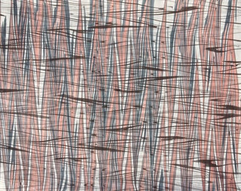 Marbled Paper with Thick Wheat Pattern Featuring Dark Gray, Black, and Mars Red