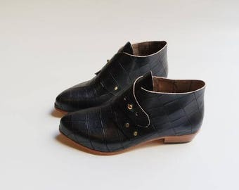 The Mussenden.  Black Croc Embossed. 3cm. Handmade Boots. Comfort Shoes. Soft Shoes.
