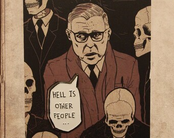 """Sartre Hell is other people 1.4"""" Soft Enamel Pin"""