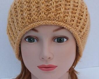 Hand Knit Alpaca Hat, Hand Knit Women Hat, Knit Slouchy Hat, November Hat