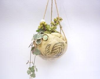 suspension,pot de fée, plante succulente,fait a main,rustique,druide,plume, suspension,zen garden,DIY, sculpture garden,hanging plant